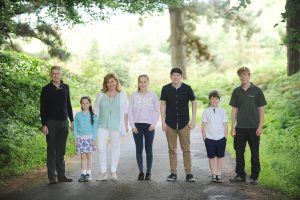 01/07/2017…Health… Nicola O'Byrne (centre)) picutred with her family. Husband Sean (left) and children Eliza 7, Isabella 13, David 16, Callum 9, and Cian 20. Photograph: Aidan Crawley